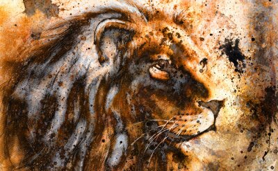 Obraz lev koláž na barevné abstraktní pozadí, rez struktury,