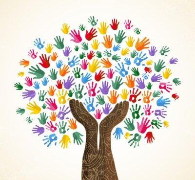 Obraz Lidský ruční strom pro koncept kulturní rozmanitosti