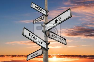 Obraz Life balance choices signpost, with sunrise sky backgrounds
