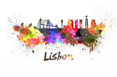 Obraz Lisabon panorama v akvarelu