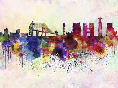 Obraz Lisabon panorama v akvarelu pozadí