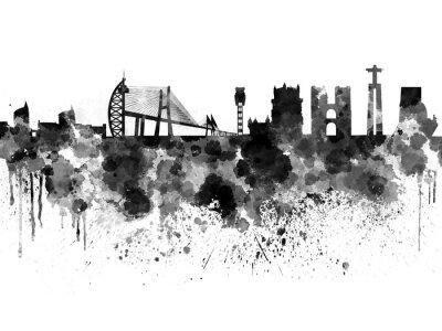 Obraz Lisabon panorama v černém pozadí akvarel
