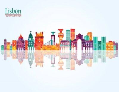 Obraz Lisabon panorama. vektorové ilustrace