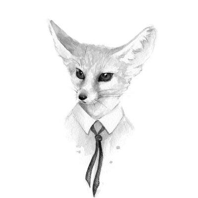 Obraz Liška. Černé a bílé akvarel ilustrační
