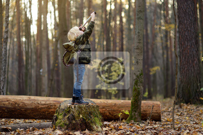 Obraz Little boy scout with spyglass during hiking in autumn forest. Child is looking through a spyglass.