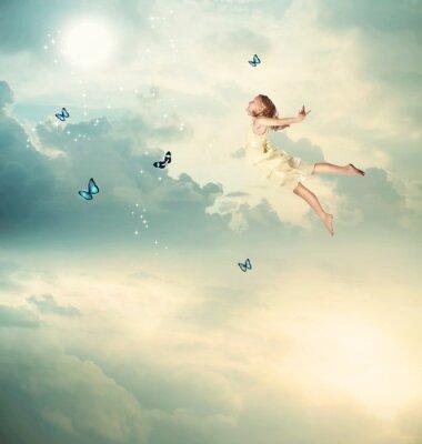 Obraz Little Girl Flying at Twilight
