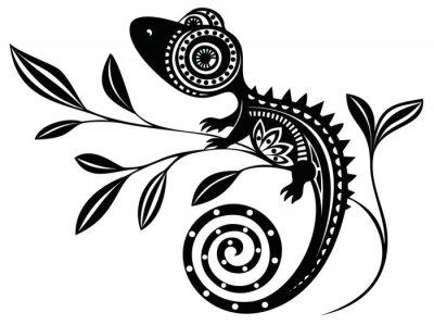 Obraz Lizard on a branch.pattern. Chameleon.tattoo.