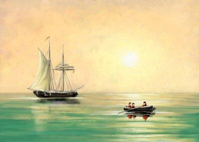 Obraz Loď a loď, mořská krajina, olejové digitální obrazy