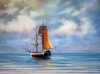 Obraz Loď, moře. Krajina. Olejové digitální obrazy.