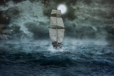 Obraz Loď, mořská, oceánu, modři, zataženo, vodě, plují, bouřkový