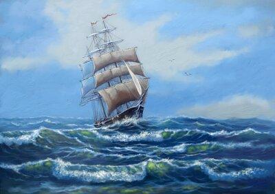 Obraz Loď, mořské olejomalby krajina, umění
