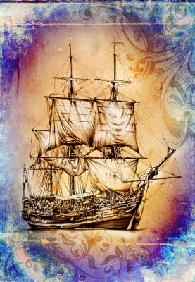 Obraz Loď na moři nebo oceán umění ilustrace