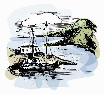 Obraz Loď na vlnách poblíž pobřeží. Ilustrace jachty. Výhled na pláž. Akvarelová krajina. Vektorové ilustrace