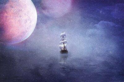 Obraz Loď v rozlehlosti vesmíru pozadí obrázku na