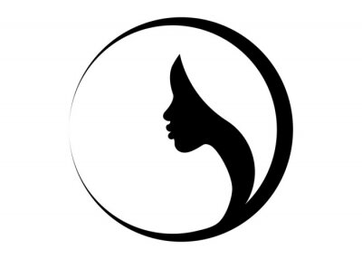 Obraz logo round design African american woman face profile. Women profile silhouette on the white background. Vector illustration isolated