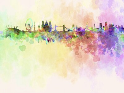Obraz Londýn panorama v akvarelu pozadí
