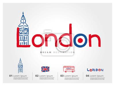 Obraz Londýn set cestování, Anglie, Big Ben, autobus, typografie