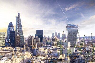 Obraz Londýn západ slunce, pohled na obchodní moderní čtvrti