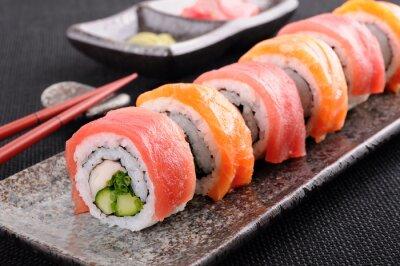 Obraz Losos & tuňák sushi rolka