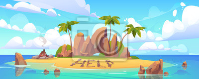 Obraz Lost island in ocean with alone castaway person asking for help. Vector cartoon sea landscape witn tropical island with palms, rocks and sand beach with bonfire.