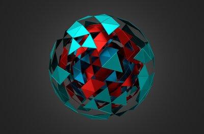 Obraz Low Poly Kovová koule s Chaotic Structure.