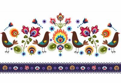 Obraz Ludowy Wzór z ptakami