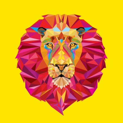 Obraz Lví hlava v geometrickým vzorem