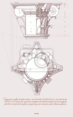 Makovice ruky nakreslit náčrtek kompozitní architektonické pořadí