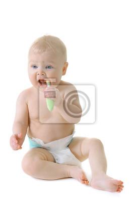 Malá holčička se zoubky kartáčkem