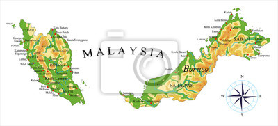Malajsie fyzická mapa