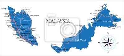 Malajsie Mapa