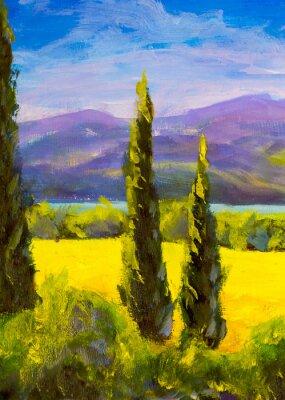 Obraz Malba italská toskánsko cypřiš krajina pole hory keře svisle