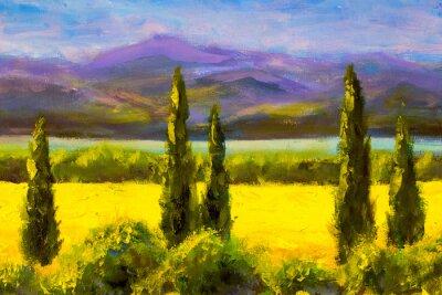 Obraz Malba italská toskánsko cypřiš krajina pole hory keře vodorovně umění