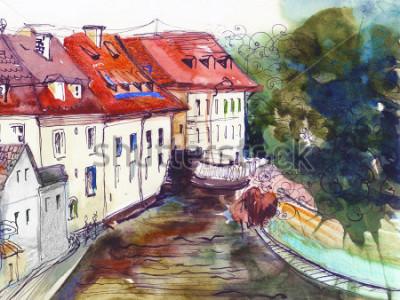 Obraz Malebné české malé městečko akvarel ilustrace plakát olejomalba plátno architektonické ruční kreslení pozadí textilní vzor post card book skica