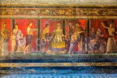 Obraz Malované stěny ve městě Pompeje zničen v 79BC erupcí Vesuvu