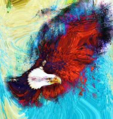 Obraz malování orla na abstraktní pozadí, USA symboly Freedom