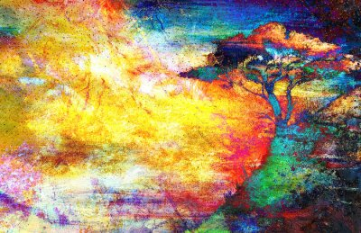 Obraz Malování západ slunce, moře a strom, tapety na šířku, barva koláž