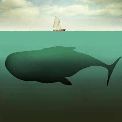 Obraz Malý člun a obří velryba