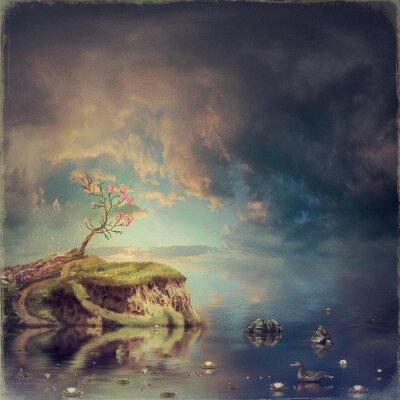 Obraz Malý ostrov s strom sakura na řece