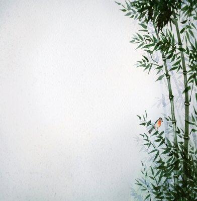Obraz Malý pták v bambusovém háji. Obrázek v japonském stylu