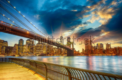 Obraz Manhattan, New York City. Spectacular sunset city view.