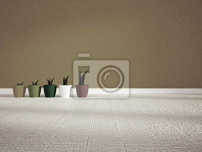 many vases on the floor, 3d