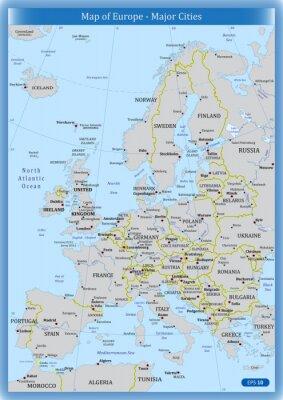 Obraz Mapa Evropy - hlavní města