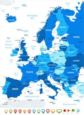 Obraz Mapa Evropy - velmi podrobné vektorové ilustrace. Image obsahuje půdu kontury, názvy zemí a pozemky, názvy měst, názvy voda objektů, navigační ikony.