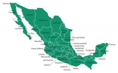 Obraz Mapa Mexika se státy a městy