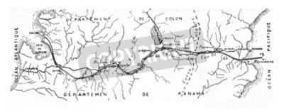 Obraz Mapa Panamského průplavu, ročník vyryto ilustrace. Průmyslová encyklopedie E.-O. Lami - 1875.