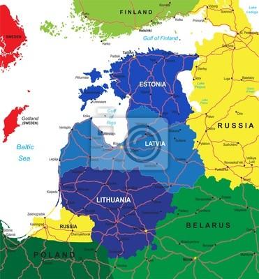 Mapa pobaltské státy