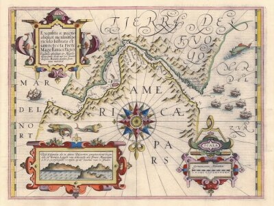Obraz Mapa průlivu Magellan
