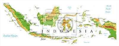 Mapa reliéfu Indonésie