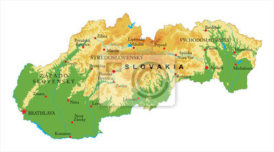 Mapa reliéfu Slovenska